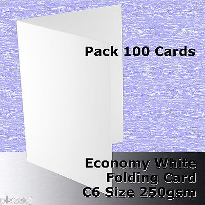 100 x C6 Scored Folding White Economy Card 250gsm folds to 110x155mm #H5322A