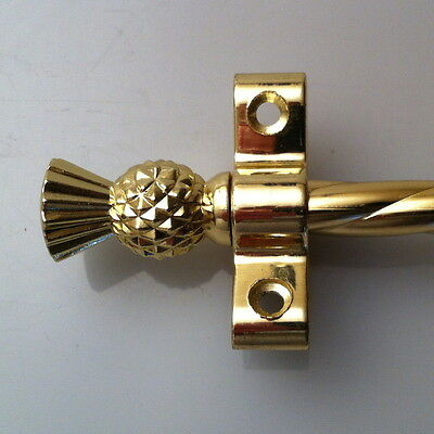 Rope Polished Brass 3/8 Inch Stair Rods Thistle Finial (R01Rot)