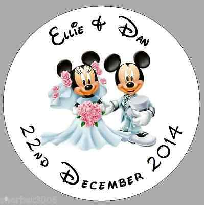24 X 40mm Personalised Stickers Mickey & Minnie Wedding  Round Favour Labels