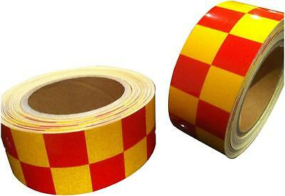 NEW REFLECTIVE GRADE RED YELLOW CHEQUER TAPE 50mm x 2.5m