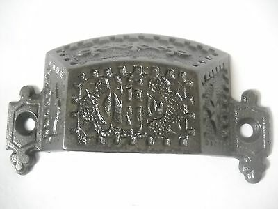 Antique Cast Iron Bin Drawer  Pull Rare Embossed 1880's Nashua Lock Co. N.h.