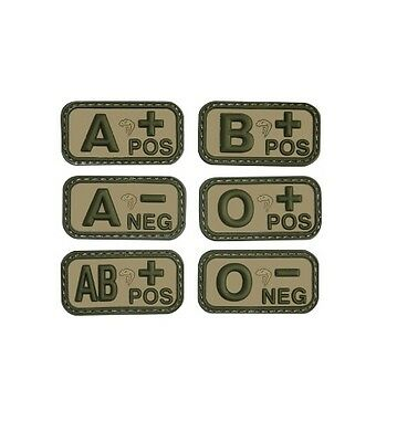 Viper Tactical Rubber Velcro Blood Group Patch Badge Military Army VCam Green
