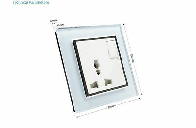 Wall Power Socket, Crystal Glass Panel, ON/OFF AC110~250V, Multifunction 10A