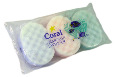 3 x Coral Exfoliation Massage Bath Sponges Colours May Vary