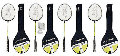 4 x Browning Nano-lite Badminton rackets with covers + 3 shuttles RRP £159.99
