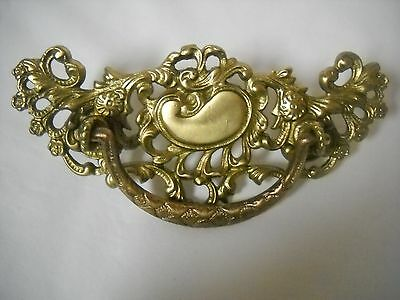"Large Antique Victorian Cast Brass Drawer Pull 3"" Centers"