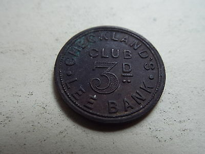 Checkland's Club Lee Bank Threepence Brass Token (5026)