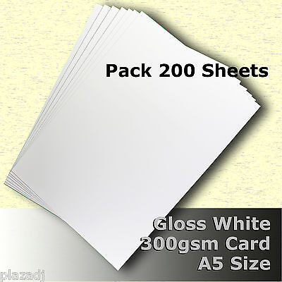 200 Sheets Gloss White Cast Coat Card 1/sided A5 Size 300gsm #H7205