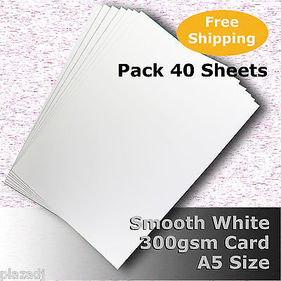 40 Sheets Smooth Finish White Card Quality A5 Size 300gsm Archival #H7305 #D1