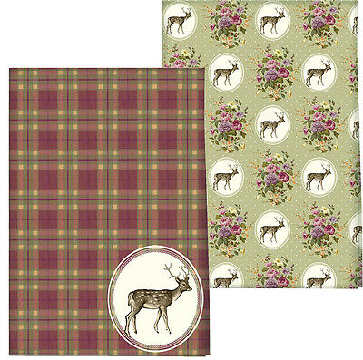 Set of 2 Katie Alice Highland Fling Tartan Stag Tea Towels