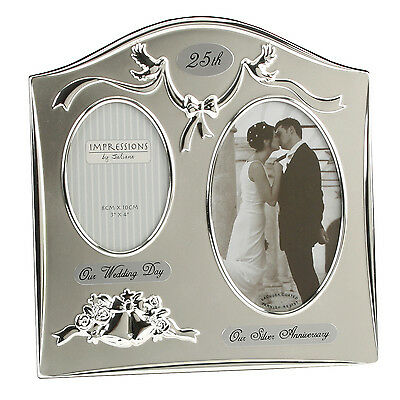 25th Silver Wedding Anniversary Silver Plated Double Photo Frame Gift Ideas