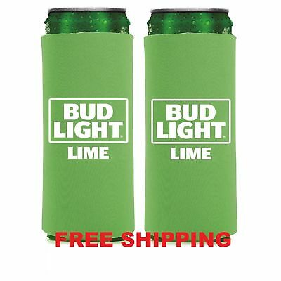 2-Pack New AUTHENTIC Bud Light Lime SLIM CAN Koozie Coozie Coolie Michelob Ultra