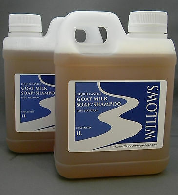 LIQUID CASTILE GOATS MILK SOAP/SHAMPOO 100% NATURAL UNSCENTED 2 x 1L INCL P&H