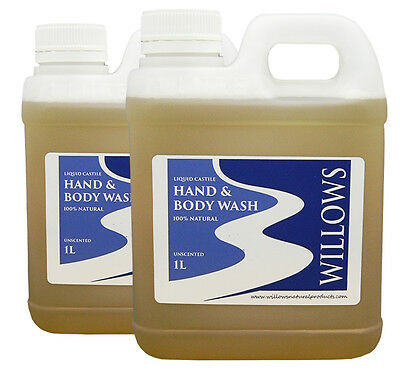 LIQUID CASTILE HAND & BODY WASH 100% NATURAL UNSCENTED 2 x 1 L INCL P&H