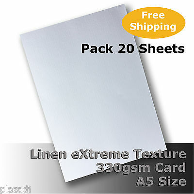 20 Sheets Linen eXtreme Finish Quality Card A5 Size White 330gsm #H7005 #D1