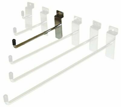 "PACK OF 100 - 6"" slatwall shop display hooks in chrome 150mm"