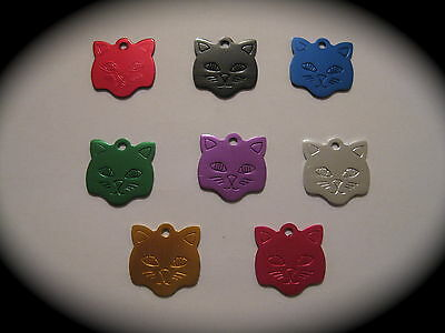 SMALL Coloured Cat Face Pet ID Name Tag Cat Dog FREE ENGRAVING & POSTAGE