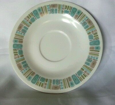 Set of 4 Texas Ware Saucers Temporama Melmac Melamime  Mid Century Turquoise 6""