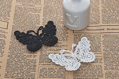 Pretty Sew on Cotton Embroidery Black White Butterfly Applique Badge