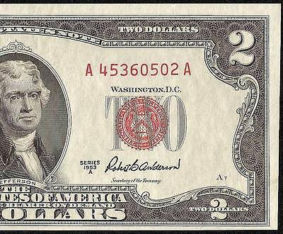 1953 A $2 TWO DOLLAR BILL UNITED STATES LEGAL TENDER RED SEAL NOTE PAPER MONEY