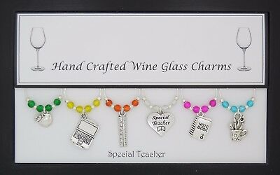 Special Teacher Set of 6 Wine Glass Charms Handmade Just for You