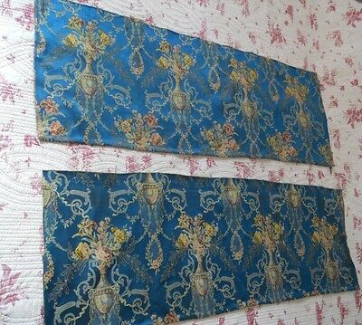 2 ANTIQUE FRENCH FABRIC SILK  LINEN TEXTILES  WITH   FLORAL DECOR FOR  PILLOWS