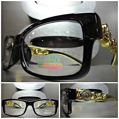 CONTEMPORARY MODERN Clear Lens EYE GLASSES Black & Gold Chain Link Fashion Frame