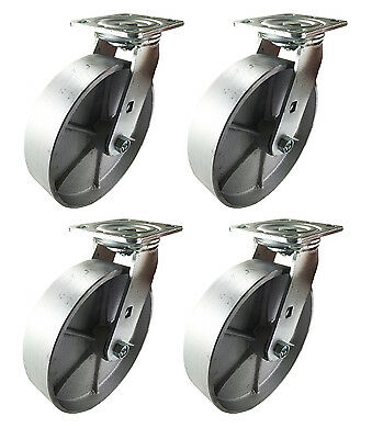 "8"" x 2"" Heavy Duty ""Steel Wheel"" Casters - 4 Swivels"