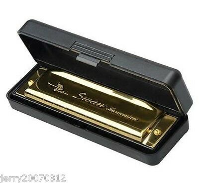 New Swan Harmonica 10 Holes Key of G with Case Golden
