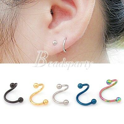 1Pc Piercing Nombril Langue Cartilage Puce Acier Inoxydable Tordu Spirale