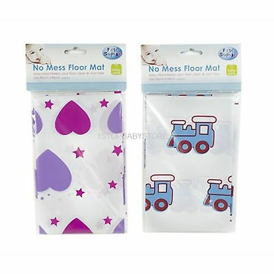CHILDREN TODDLER BABY FEEDING NO MESS FLOOR SPLASH MAT HIGHCHAIR HEARTS or TRAIN