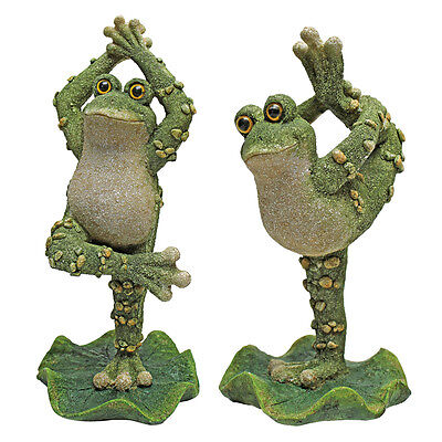Set of 2: Yoga Frog Tree Pose & Dancer Pose on Lilly Pad  Garden Home Sculptures