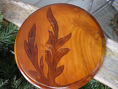 Vintage Hand Carved Folk Art Burled? Wood Tray Plate Platter Plaque Primitive