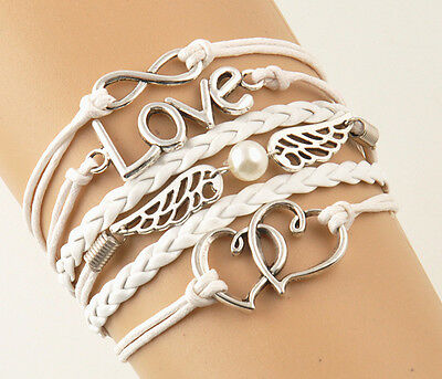 LOVE Wings Heart Cute Charms Leather Rope Fashion Infinity Friendship Bracelet