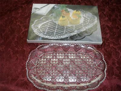 Stunning Hoya Cordial Glass Collection Patterned Platter/dish Japan