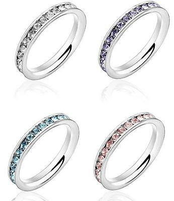 Stunning Stainless Steel Simple Crystal Band Ring Sizes 5-10 || 4 Colours