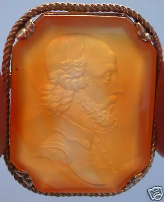 1800s Gold Honey Carnelian Comic Shakespeare Intaglio!