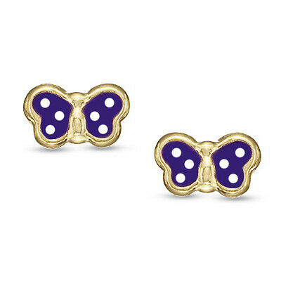 f187f08a4 14K Yellow Gold Baby Children Screw-Back Butterfly Earrings Enamel White  Purple