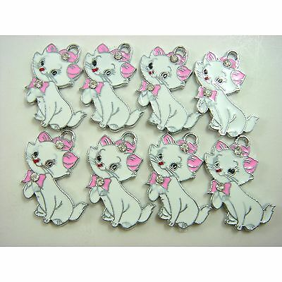 NEW Set of 8 pcs Disney Marie Cat Jewelry Making Metal Figures Pendant Charms
