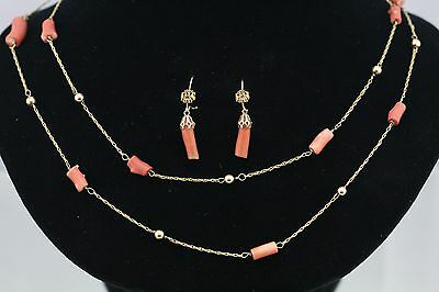 Antique 14K Gold Victorian Branch Red Coral Necklace & Earrings Set