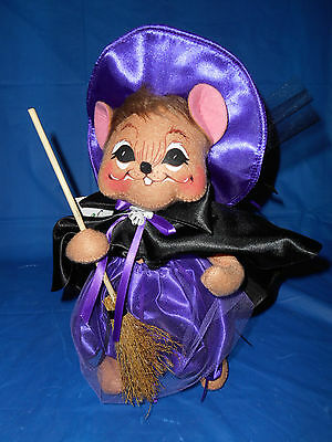 """ANNALEE POSEABLE DOLL 10"""" Purple Witch Mouse Halloween 2010"""