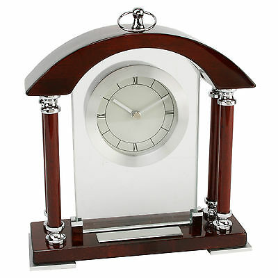 High Polish Dark Wood Mantel Clock Arched Top with Engraving Plate W2976
