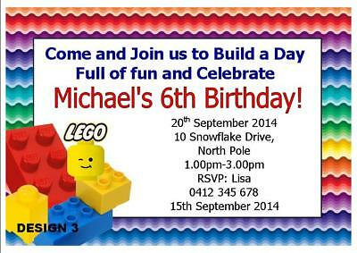 1 X LEGO PERSONALISED BIRTHDAY PARTY BOYS INVITATIONS FREE MAGNETS