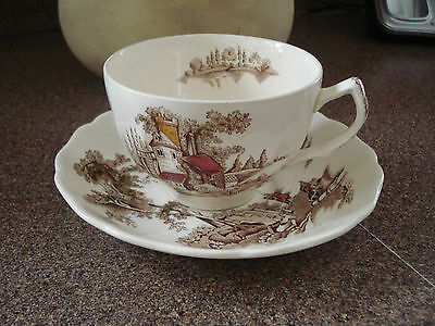 VINTAGE JOHNSON BROTHERS LARGE CUP AND SAUCER THE OLD MILL