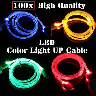 Wholesale Lot 100 LED LIGHT UP Colorful V8 Micro USB Charger Cable Galaxy Samsun