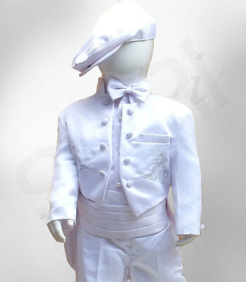 Baby Boys 6PC White Christening Outfit, Baptism Christening Suit with Cross