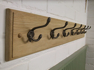 Handmade Victorian wood oak coat rack with antique style cast iron hooks