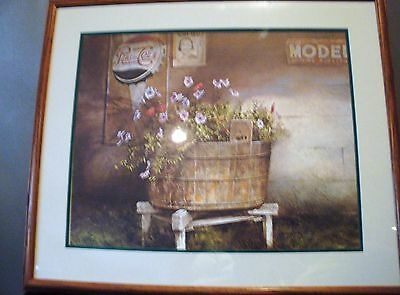 Tub of Petunias Donny Finley Pepsi Cola Sign Framed Country Picture Print Art