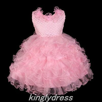 NEW Flower Girl Pageant Wedding Bridesmaid Party Dancing Dress Pink SZ2T Z142C
