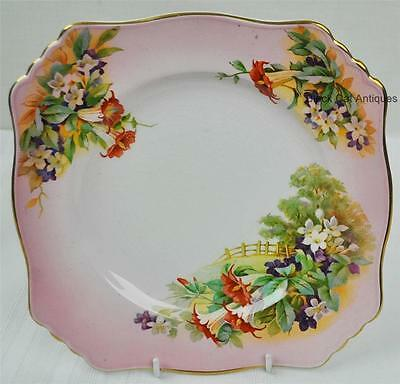 """Royal Winton Luncheon Plate 8 3/4""""  RWI117 LANDSCAPE FENCE GOLD & PINK FLORAL"""
